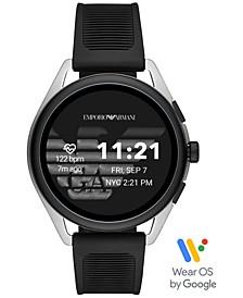 Men's Black Silicone Strap Touchscreen Smart Watch 45mm