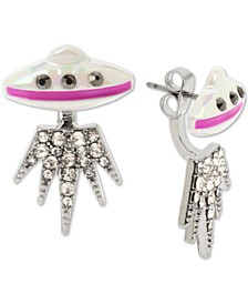 Silver-Tone Pavé UFO Front-and-Back Earrings