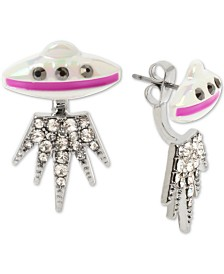 Betsey Johnson Silver-Tone Pavé UFO Front-and-Back Earrings