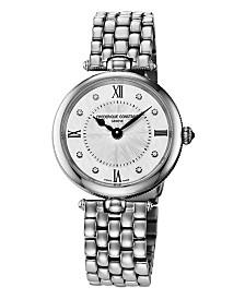 Frederique Constant Women's Swiss Art Deco Diamond Accent Stainless Steel Bracelet Watch 30mm