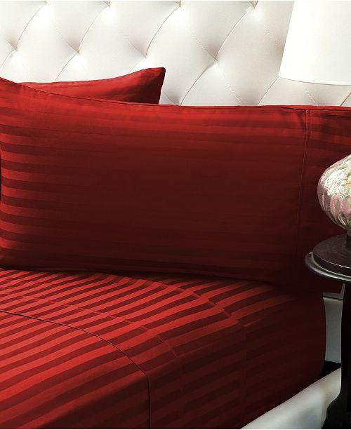 Color Sense Damask Stripe Sateen Stripe Sheet Set- Full
