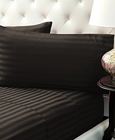 Damask Stripe Sateen Stripe Sheet Set- Twin