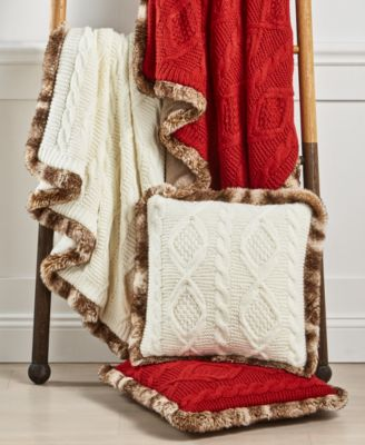 Sweater Knit Fur Throw, Created for Macy's