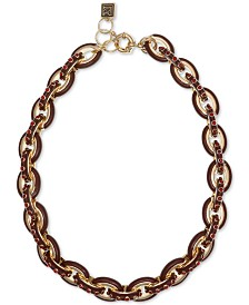 """Laundry by Shelli Segal Gold-Tone Pavé & Enamel Chain Link Collar Necklace, 16"""" + 2"""" extender"""