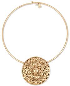 "Gold-Tone Shield 17"" Wire Collar Pendant Necklace"