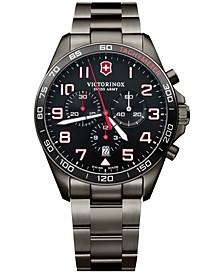 Men's Chronograph Fieldforce Sport Gray PVD Stainless Steel Bracelet Watch 42mm