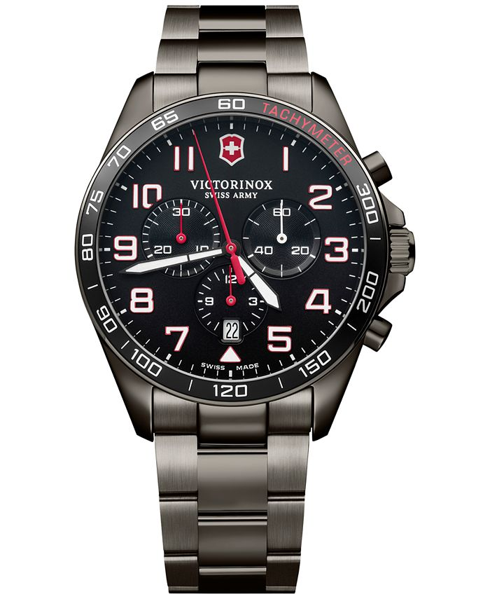 Victorinox Swiss Army - Men's Chronograph Fieldforce Sport Gray PVD Stainless Steel Bracelet Watch 42mm