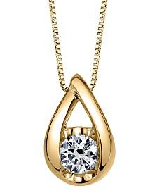 Sirena Diamond (1/10 ct. t.w.) Teardrop Pendant in 14k White, Yellow or Rose Gold