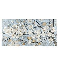 Luminous Bloom Gold Foil Floral Hand Embellished Canvas Art
