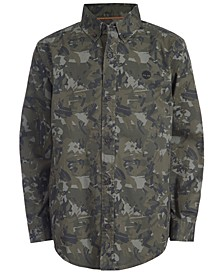 Big Boys Eaton Dark Olive Camouflage Logo-Print Shirt