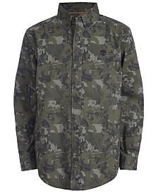 Timberland Big Boys Eaton Dark Olive Camouflage Logo-Print Shirt