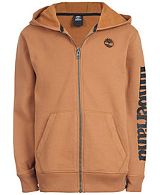 Timberland Big Boys Hayes Wheat Full-Zip Fleece Logo Hoodie