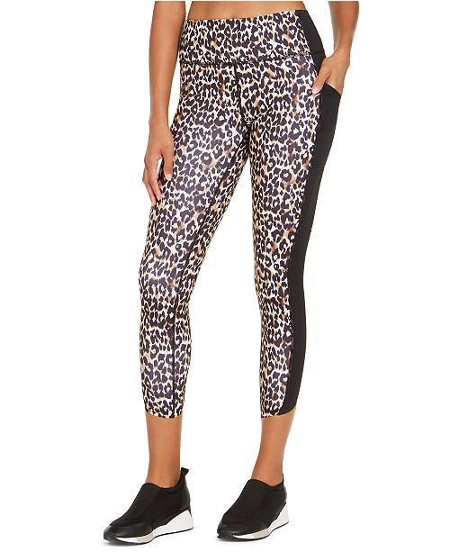 Ideology Colorblocked Leopard-Print Leggings, Created for Macy's