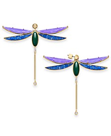 Gold-Tone Multi-Stone Dragonfly Drop Earrings