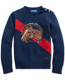 Polo Ralph Lauren Big Girls Merino Blend Horse Sweater