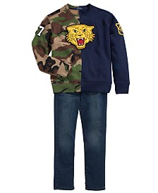 Polo Ralph Lauren Toddler, Little & Big Boys Fleece Tiger Half-Camo Knit Sweatshirt & Eldrige Skinny-Fit Jeans