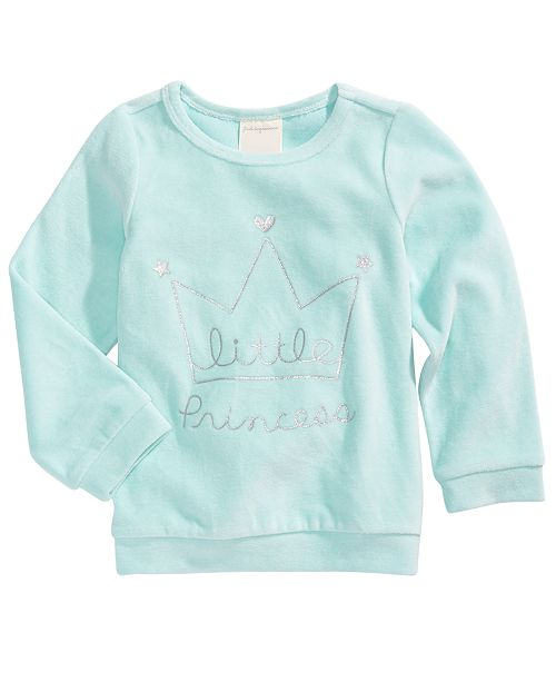 First Impressions Toddler Girls Crown-Print Velour Top, Created For Macy's