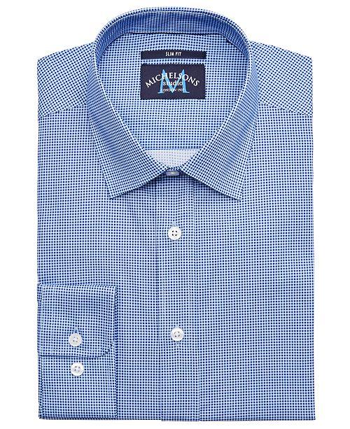 Michelsons of London Men's Slim-Fit Performance Stretch Gingham Dress Shirt