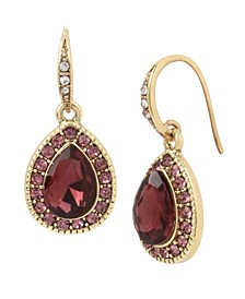 Pave Teardrop Stone Drop Earrings