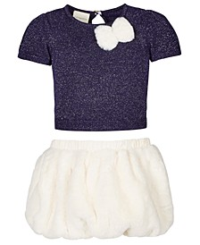 Baby Girls 2-Pc. Metallic Sweater & Faux-Fur Skirt Set, Created For Macy's