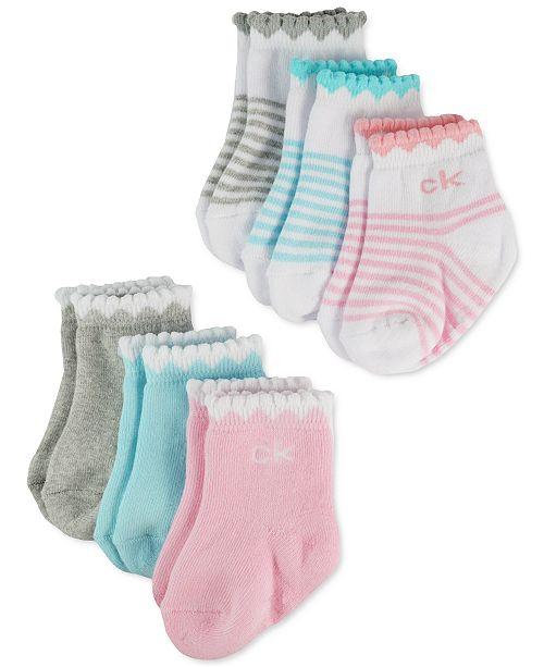 Calvin Klein Baby Girls 6-Pk. Scalloped Socks