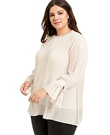 Plus Size Pleated Blouse, Created For Macy's