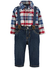 Baby Boys 3-Pc. Plaid Collared Bodysuit, Jeans & Suspenders Set