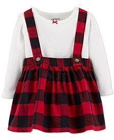 Baby Girls 2-Pc. Cotton Bodysuit & Plaid Flannel Skirtalls Set