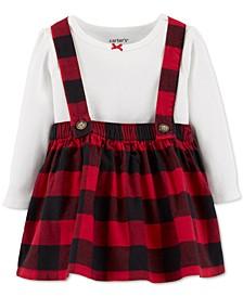 Baby Girls 2-Pc. Cotton Bodysuit & Plaid Flannel Skirtalls Set