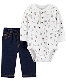 Baby Boys 2-Pc. Cotton Penguin Bodysuit & Jeans Set