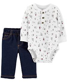 Carter's Baby Boys 2-Pc. Cotton Penguin Bodysuit & Jeans Set