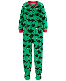 Little & Big Boys Santa-Hat Dinosaurs Footed Pajamas