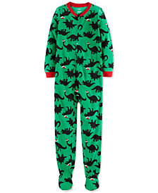Carter's Little & Big Boys Santa-Hat Dinosaurs Footed Pajamas