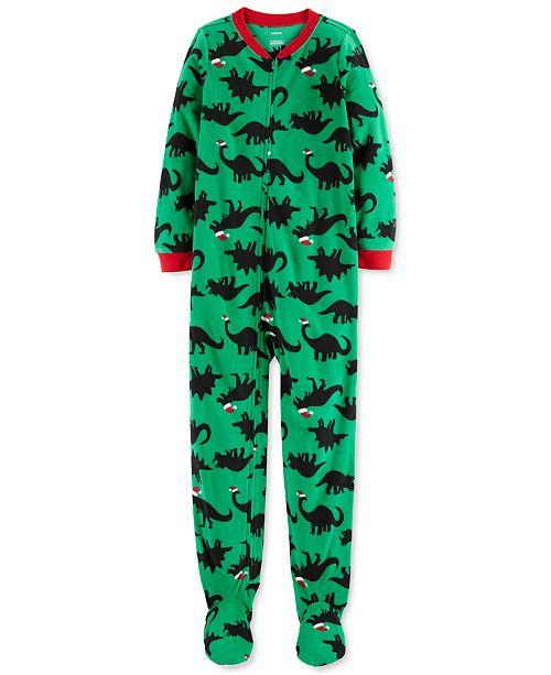 Carter's Little & Big Boys Santa-Hat Dinosaurs Footed Pajamas