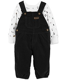 Baby Boys 2-Pc. Cotton Holiday-Print Top & Corduroy Overalls Set