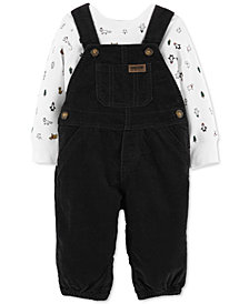 Carter's Baby Boys 2-Pc. Cotton Holiday-Print Top & Corduroy Overalls Set