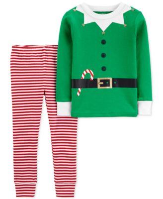 Baby Girls & Boys 2-Pc. Cotton Elf Pajamas