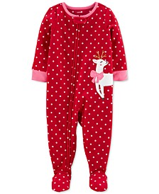 Baby Girls Footed Fleece Reindeer Pajamas