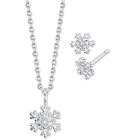 2-Pc. Set Cubic Zirconia Mini Snowflake Pendant Necklace & Matching Stud Earrings in Fine Silver-Plate, Created for Macy's