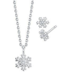Unwritten 2-Pc. Set Cubic Zirconia Snowflake Pendant Necklace & Matching Stud Earrings in Fine Silver-Plate, Created For Macy's
