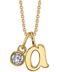 """Unwritten Initial & Cubic Zirconia Pendant Necklace in Gold-Tone, 16"""" + 2"""" extender"""