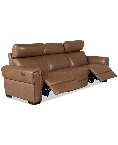Furniture Josephia 3-Pc. Leather Sectional with 2 Power Recliners, Created For Macy's