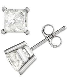 Diamond Princess Stud Earrings (2 ct. t.w.) in 14k White Gold