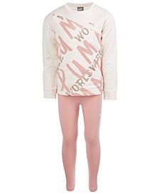 Toddler Girls 2-Pc. Worldwide-Print Fleece Top & Leggings Set
