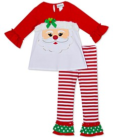 Little Girls 2-Pc. Santa Face Top & Striped Leggings Set