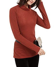 INC Petite Metallic-Knit Turtleneck Sweater, Created For Macy's