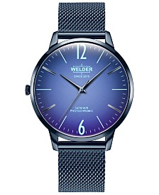 WELDER Men's Slim Blue Stainless Steel Mesh Bracelet Watch 42mm