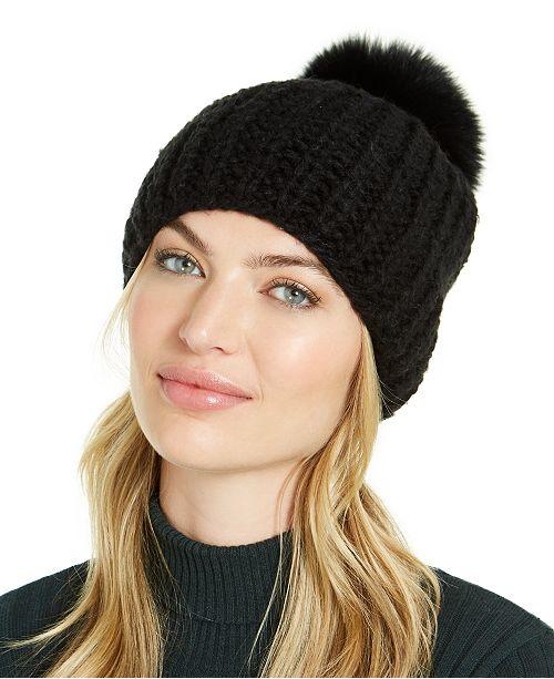 Surell Hand Knit Beanie with Fox Fur Pom