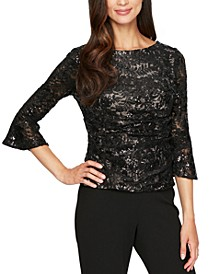 Bell-Sleeve Sequined Lace Blouse