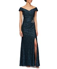 Alex Evenings Petite Off-The-Shoulder Gown